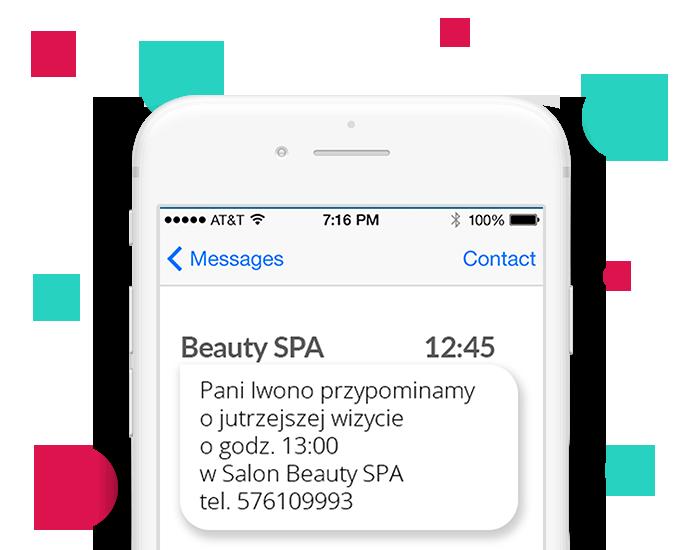 screen SMS wysłanaego przez aplikację Saloner