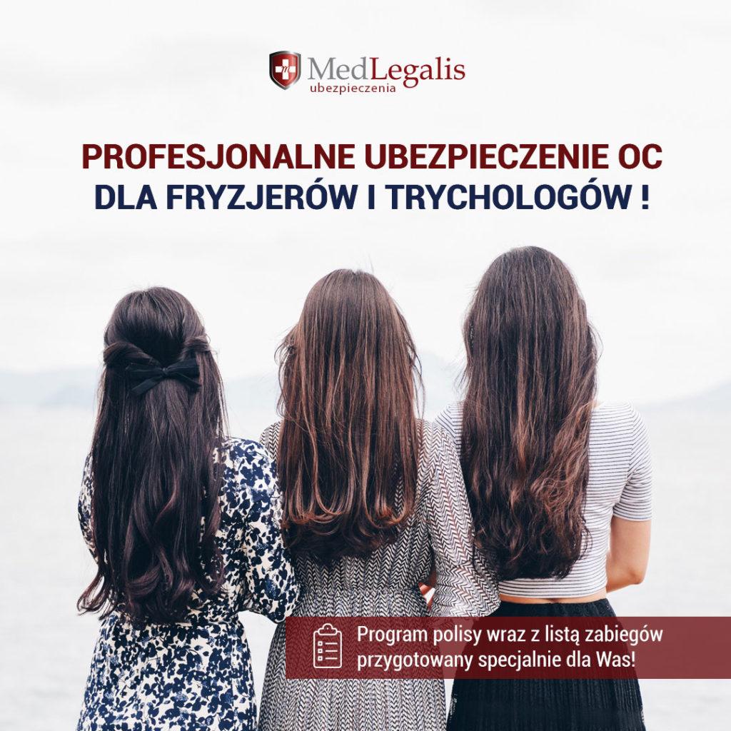 Reklama MedLegalis Ubezpieczenia, trzy kobiety z długimi włosami, stojące tyłem