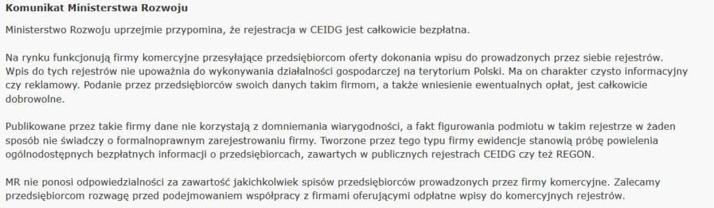 Komunikat CEIDG
